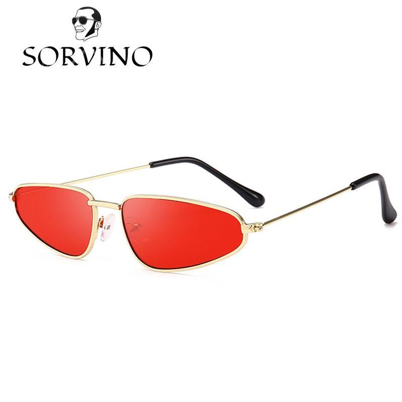 057ee544ac7 SORVINO Slim Cat Eye 90s Sunglasses Women Retro Brand 2018 Vintage Pink Red  Lens CATEYE Sun Glasses Wire Metal Frame Narrow Skinny Shades Glass Frames  ...