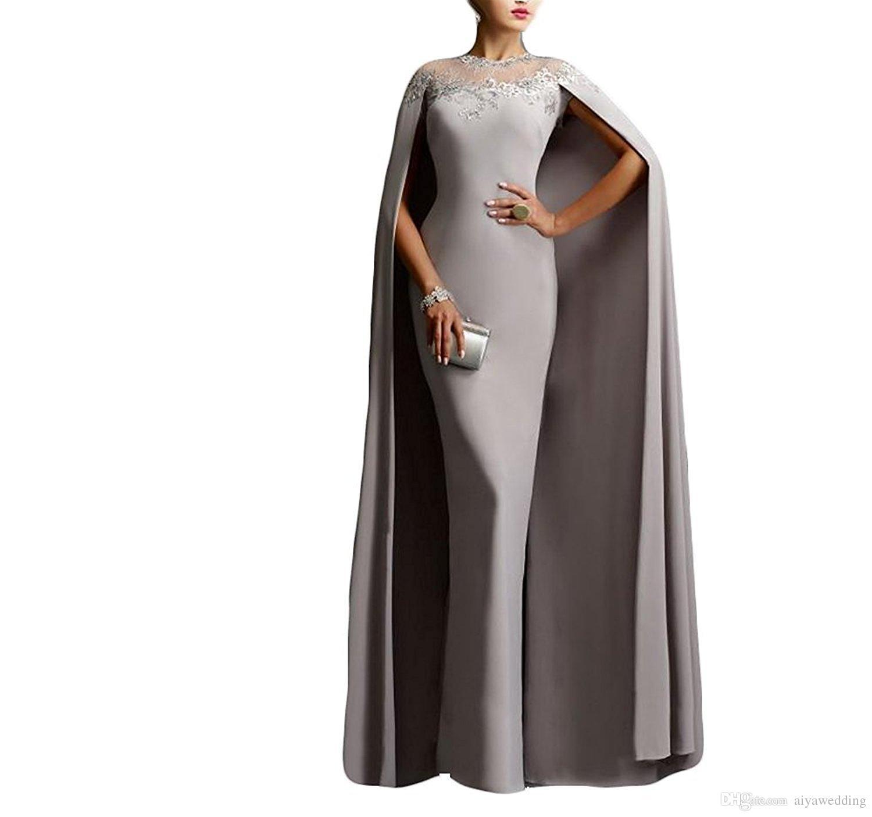 Prinzessin Aso Ebi Stil 2019 Meerjungfrau Abendkleider mit Kap Spitze Kleider Plus Size Celebrity Dress Long Saudi Arabisch