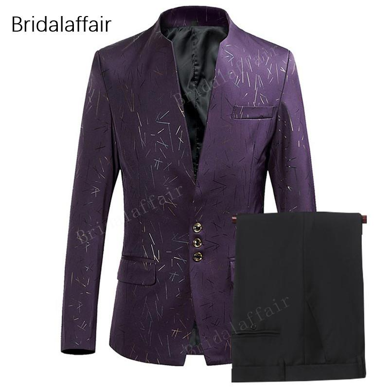 7627bc173ed 2019 KUSON Men Suit 2018 Prom Wedding Suits For Men Stand Collar Slim Fit  Male Suit Mens Purple Tuxedo Jacket With Pants Set From Viviant