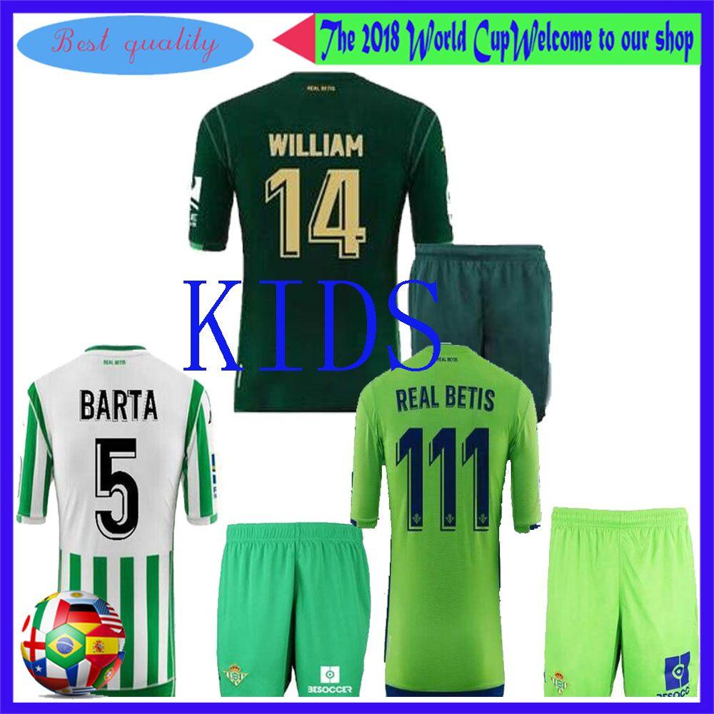 Compre 2018 2019 REAL BETIS Kits De Fútbol Jersey Para Niños 18 19 JOAQUIN  BOUDEBOUZ MANDI TELLO INUI JAVI GARCIA Conjunto De Uniformes De Camiseta De  ... 6ed3b02ceafc8