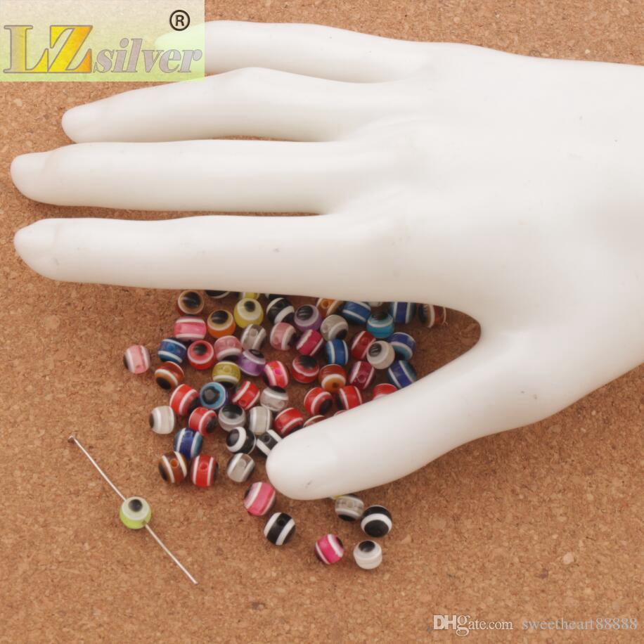 / parti 6mm onda ögonremsa runt harts spacer pärlor mångfärgad l3041 lösa pärlor heta sälja smycken diy