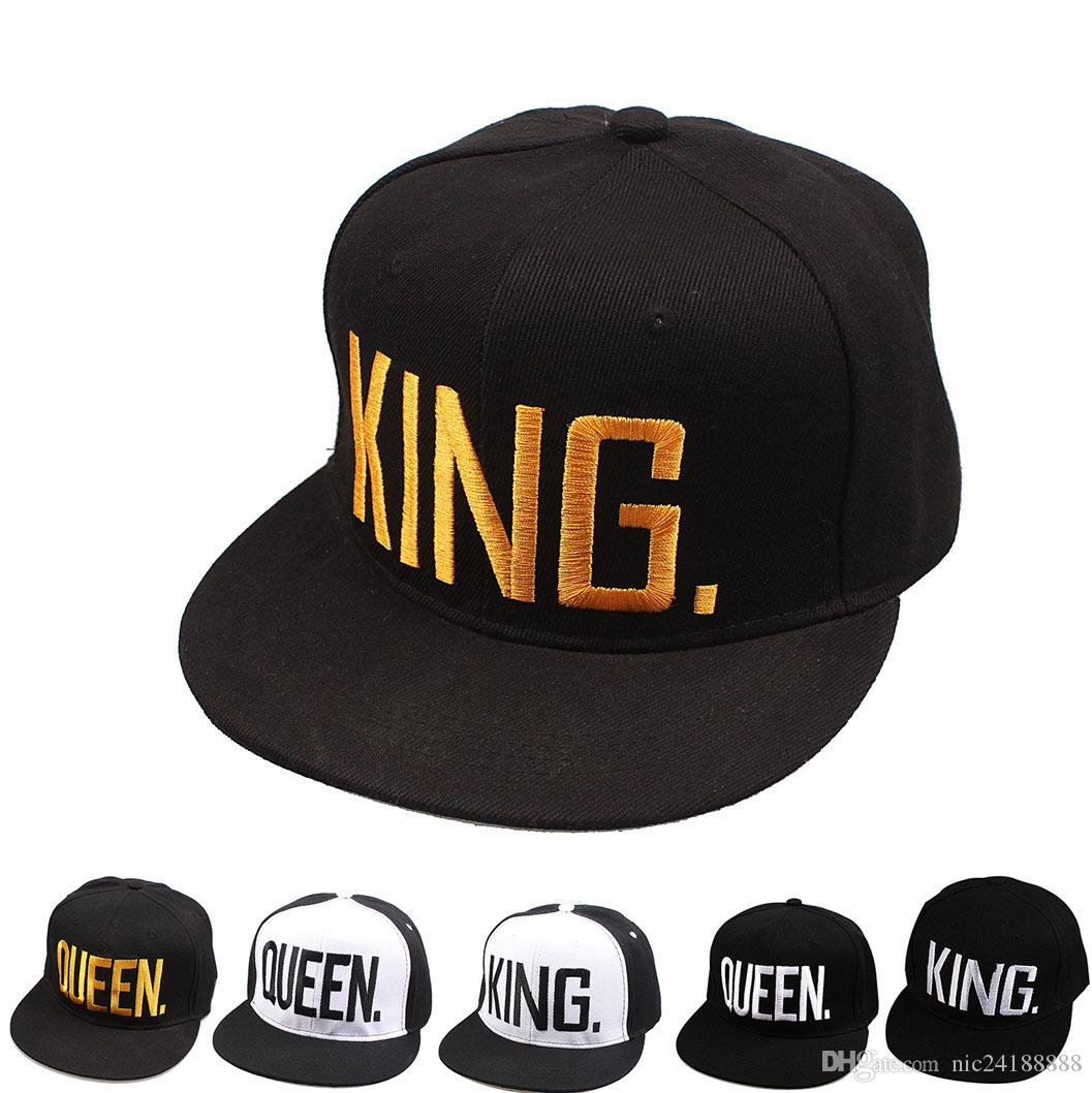 109d4e4146270 KING QUEEN Embroidered Snapback Hip Hop Caps Lovers Men Women Adjustable  Baseball Cap Black Couple Snapback Hats