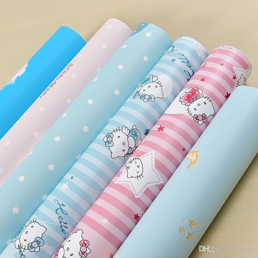 Cartoon Pink Kt Cat Wallpaper Children S Room Waterproof Anti Stick