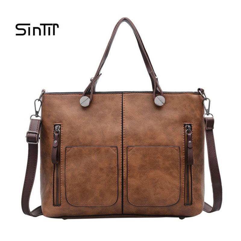 c9a46ca08a05c0 SINTIR Brand Vintage Lady Handbag Women Designer Shoulder Bags PU Leather  Double Pocket Zipper Bags Casual Tote Sac A Main Shoulder Bags For Women  Handbag ...