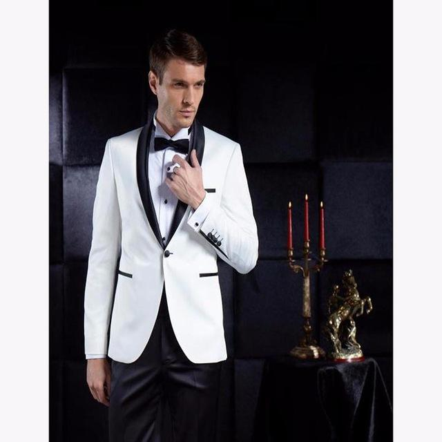 069c9c2941b9 2018 mens sequin jacket White Men Suits Groom Tuxedos terno Groomsmen  Wedding Party Dinner Best Man Suits (Jacket+Pants)