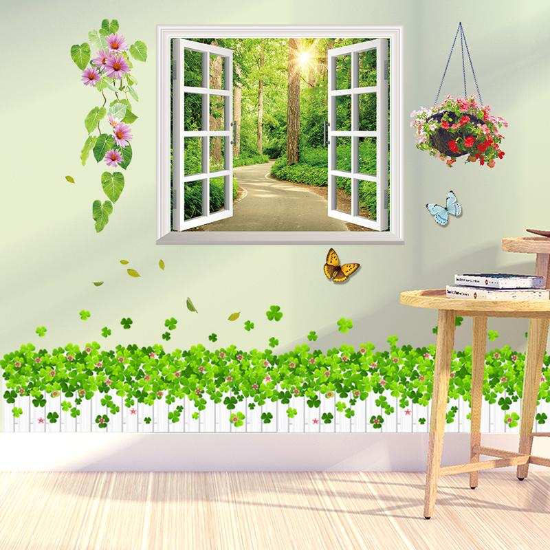 [SHIJUEHEZI] Window Scenery Wall Stickers PVC Material Grass Wall Art for Living Room Bedroom Kindergarten Baseboard Decoration
