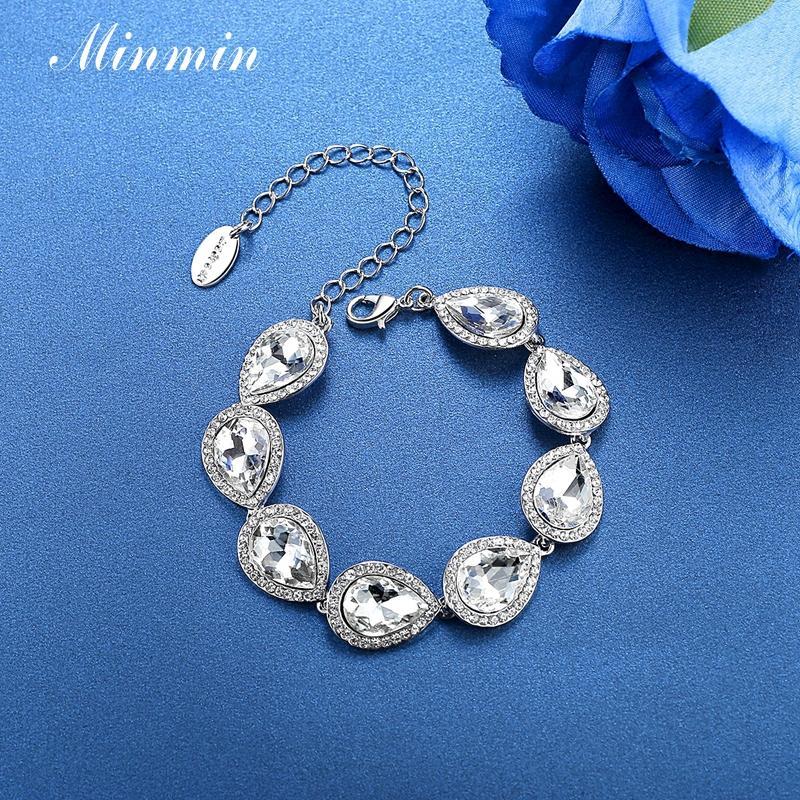 Minmin Champagne / Argent Couleur Luxueux Teardrop Bracelets Cristaux Bracelets Bijoux De Mariage Pour Femmes De Mode Accessoire SL051