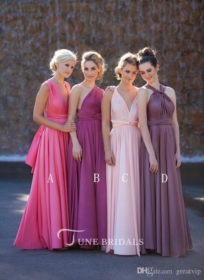 2019 Country Style vestidos de dama de honor largos sandía rosa púrpura cuello mezclado acanalada sin respaldo barato verano Boho vestidos