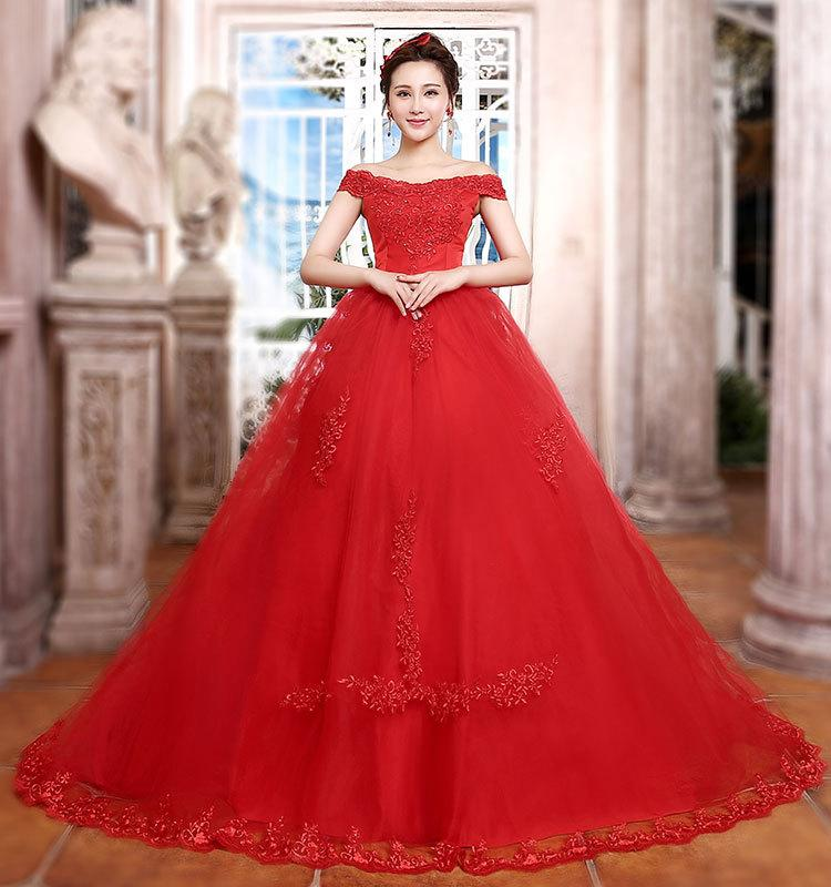 d72ffb60ff Formal Off Shoulder Lace Red Long Ball Gown Wedding Dresses With Train Bride  Custom Bridal Gown Special Occasion Bridesmaid Party 17wed594 2 Pink Wedding  ...