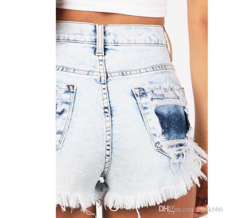 d029850d6a83 2018 Summer Korean Fashion Denim Shorts Women Casual Blue Tassel Ripped  Button High Waist Short Jeans Femme Streetwear Women s Jeans Worn Hole Jeans  High ...