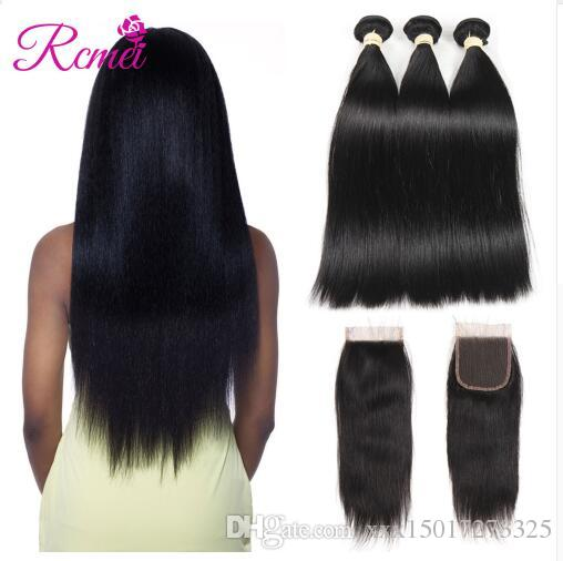 Brazilian Straight Hair Human Hair Bundles with Closure 3 Bundle With Closures Natural Color Non Remy Human Hairs Extension