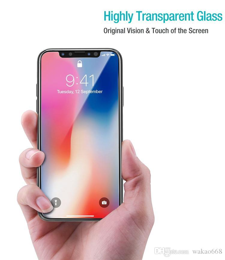 Iphone 11 Samsung A60 A70 A80 Kağıt Paketi İçin PRO XR XS MAX X temperli cam 2.5D 0.26 Ekran Koruyucu için