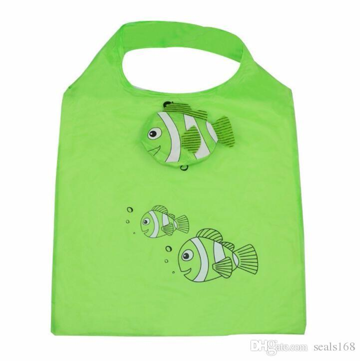 Nylon Fish Foldable Shopping Bags Reusable Grocery Storage Bag Eco Friendly Shopping Tote Bags Mix Color HH7-1166