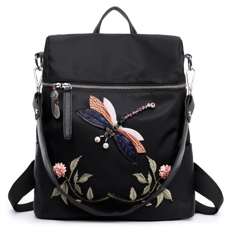 Backpack Women Nylon School Bags For Teenage Girls Dragonfly Embroidery  Practical Functional Travel Female Backpacks Sling Bag Dakine Backpack Best  Backpack ... 030c303bfd70
