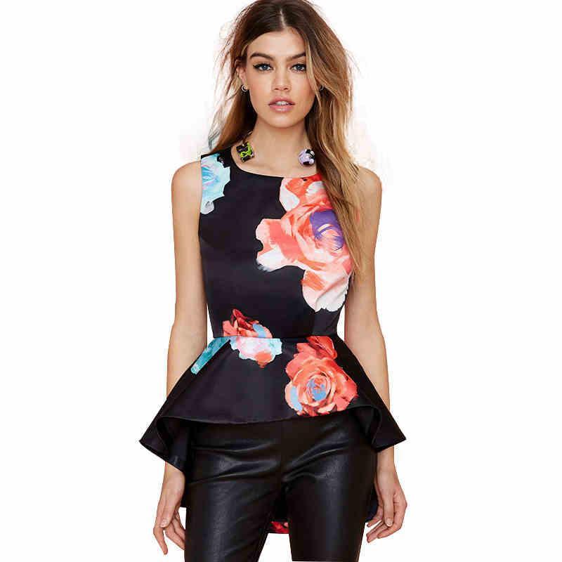 2016 여름 빅 플라워 플라워 프린트 디자인 민소매 여성 블라우스 셔츠 비명 비대칭 프릴 트림 팔발라 Flounce XXL