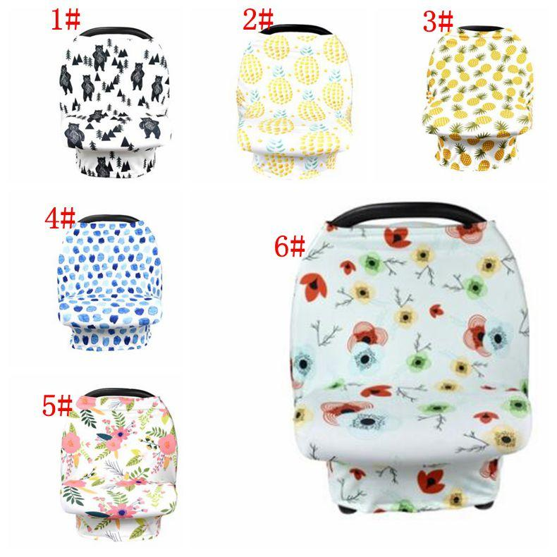 Baby Car Seat Cover Canopy Pineapple Nursing Cover Flower Stretchy Infinity Scarf Breastfeeding Shopping Cart Cover KKA5126