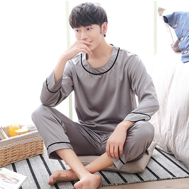 Mens Pyjamas Spring Long sleeve Silk Sleepwear Luxury Silk Satin Pajamas White Youth Men Lounge Pajama Sets Plus Size 3XL