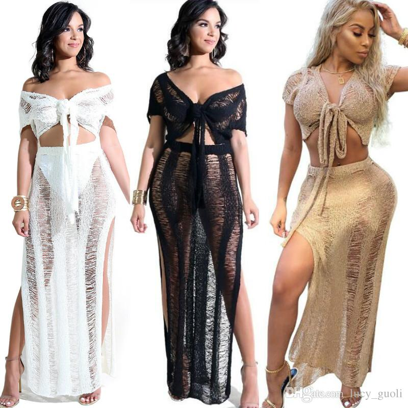a1e6751570 Set Sexy Crochet Beach Cover Up Hollow Out Knitted Tassel Beachwear Swimsuit  Swimwear Cover Ups Beach Dress Women Sexy Bikini Suit Fashion Dress Short  Dress ...