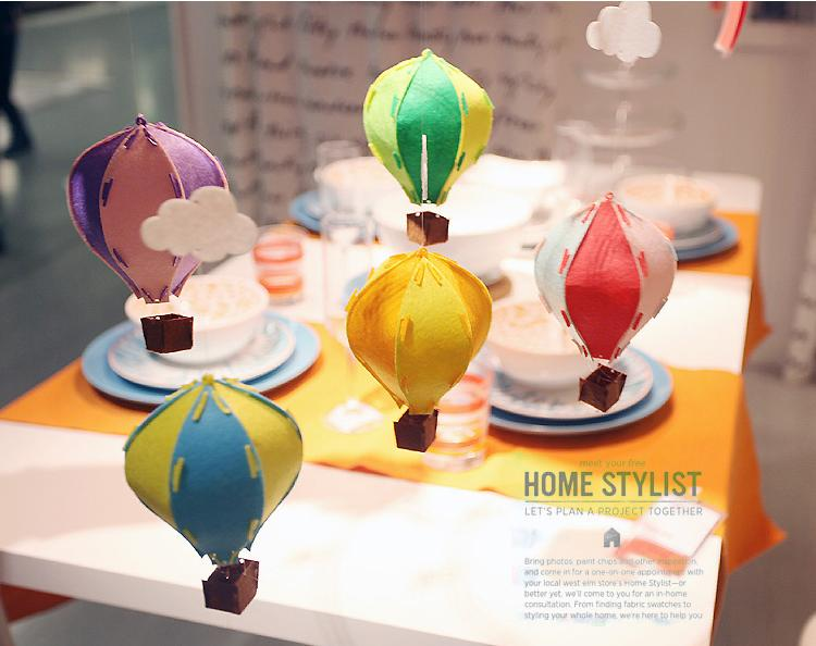 / DIY 3D Coloré Feutre À Air Chaud Ballon avec Blanc Nuage Drapeau Décoration Enfants Chambre Décoration