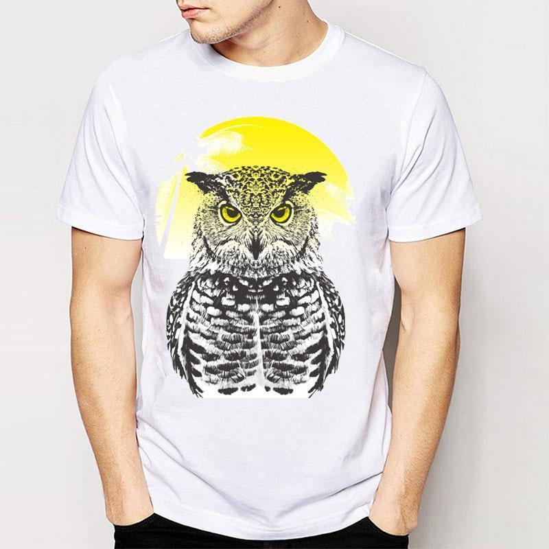 173c370b8 Compre Marca + Nova Moda Novidade Verão Projeto Da Coruja T Dos Homens De  Alta Qualidade Tops Hipster Masculino T Shirts De Amesion84