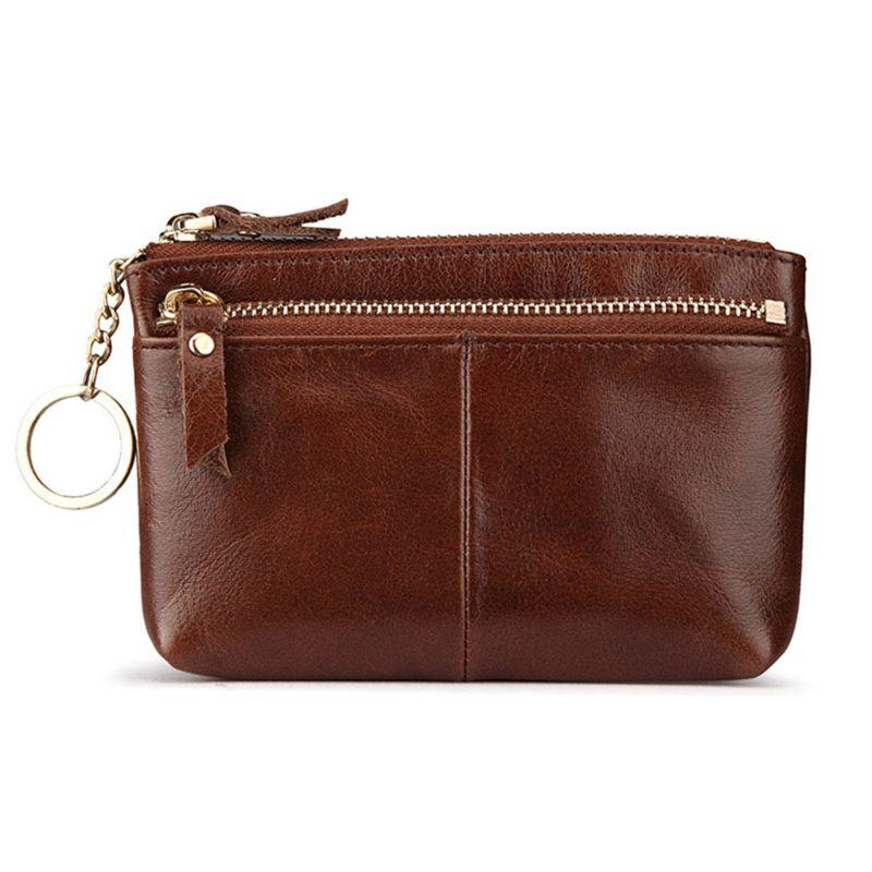 2b2f5097f1e Women Genuine Leather Coin Bag Key Ring Change Wallet Coin Card Pouch Mini  Purse Zipper Small Bag Leather Purse Evening Bags From Misix