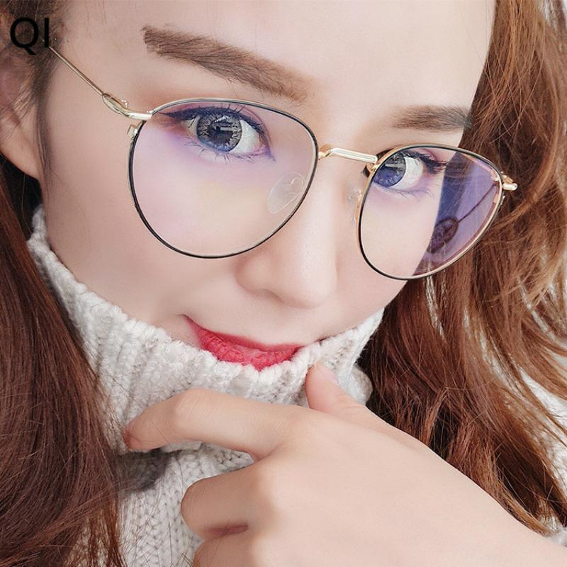 a4bb345b3cc9a Cubojue Eyeglasses Frame Women Pink Women s Frame Degree Transparent  Optical Lens 0 Fashion Decoration Round Female Eyewear