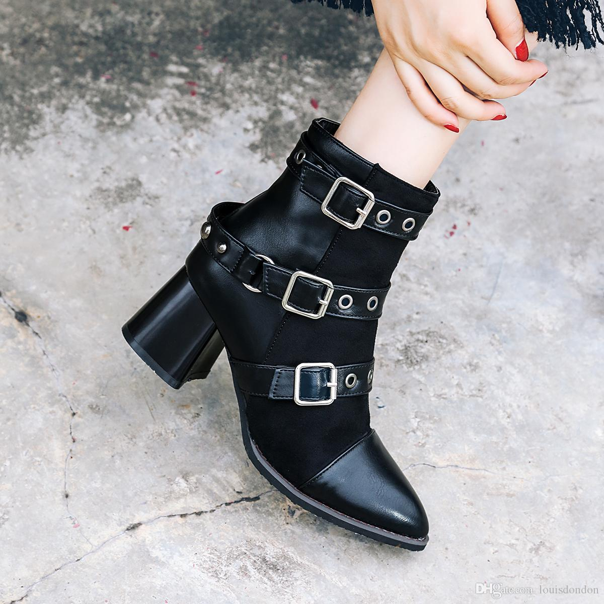 Street Punk Style Wide Buckle Strap Black Suede Ladies 60 mm Chunky Heels Ankle Boots Women Shoes
