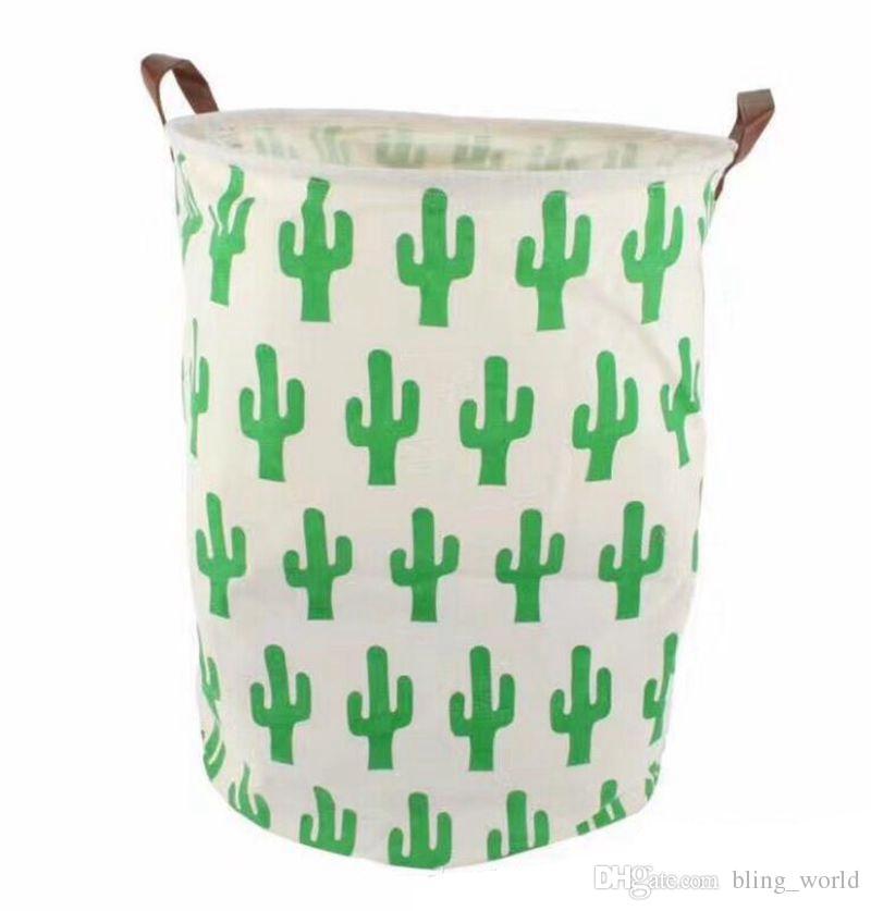 Cestini di stoccaggio INS Cavas Bins Giocattoli bambini Borse di stoccaggio Manico in pelle Secchio Abbigliamento Organizzatore Sacchetto della lavanderia Cactus Dinosaur Printing YW402