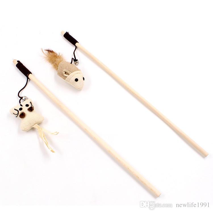 40CM Wooden Stick Funny Cat Toys Pet Lead Tools Mouse Style Cat Toys Dog Fun Sticks Free Ship