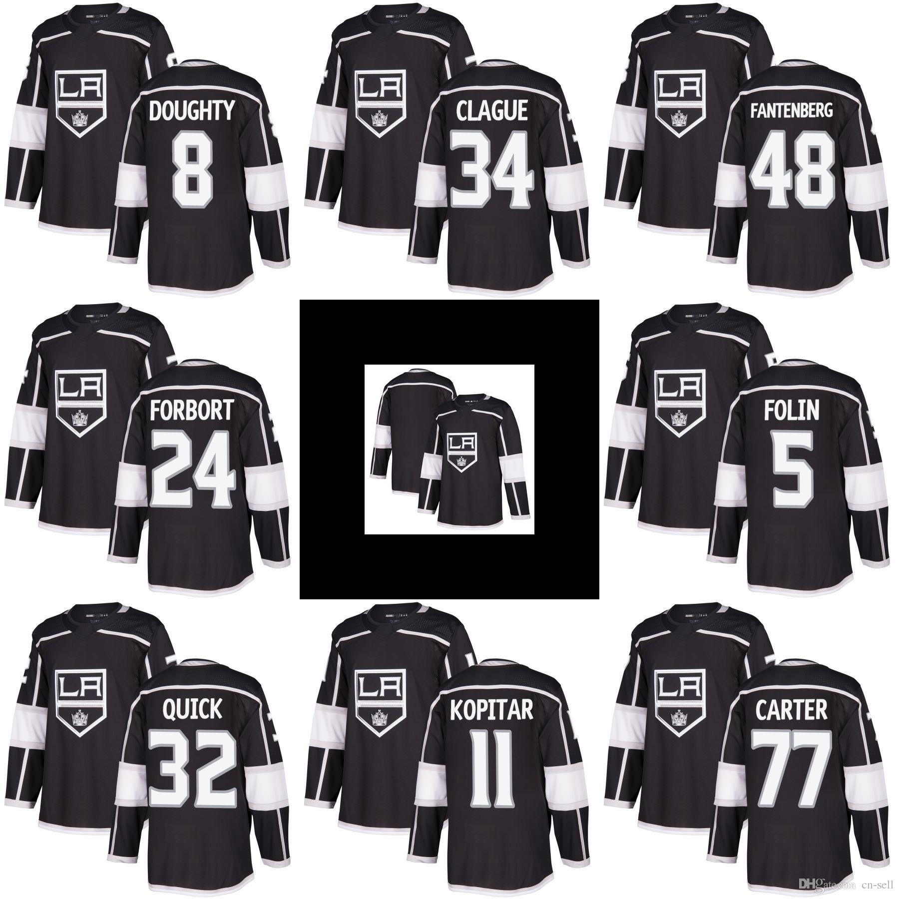 918829b18 2019 New Jonathan Quick 8 Drew Doughty 77 Jeff Carter Anze Kopitar Marian  Gaborik Mens Home Black LA Kings Hockey Jerseys Stitched A Patch From Cn  Sell, ...