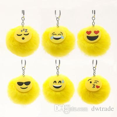 funny emoji 6 cartoon faces designs pvc soft with 8cm yellow rabbit