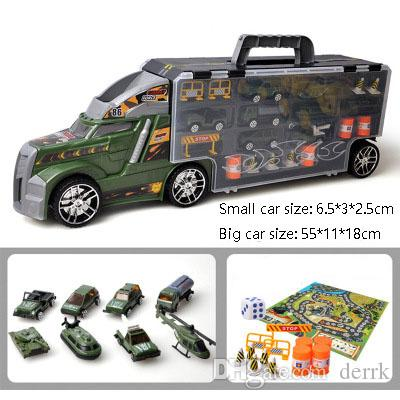 Transport Carrier Truck Set with Colorful Mini Mental Die Cast Cars & Innovative Racing Game Map - Car Transporter Toy for Kids toys