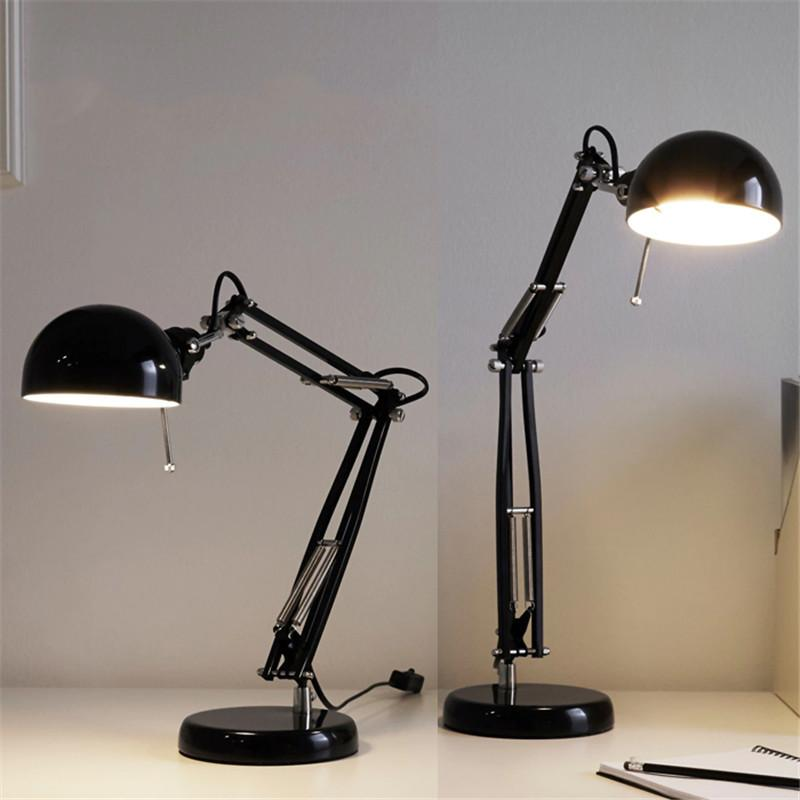 2019 Black Creative Wrought Iron Table Lamp Led Eye Protection Table