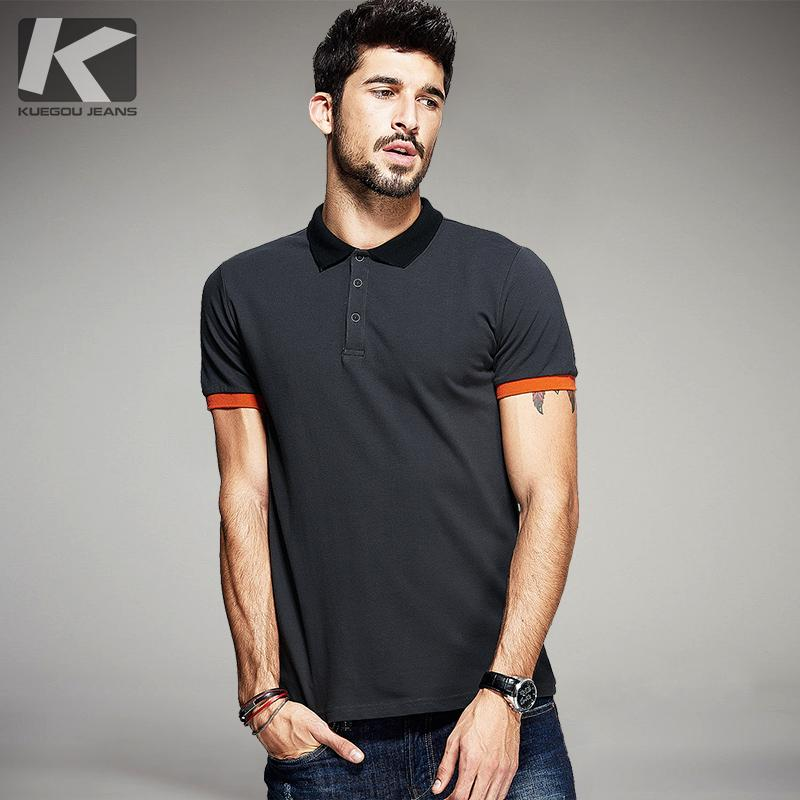 6ef447489 Kuegou Summer Mens Polo Shirts Patchwork Dark Grey Color Brand Clothing Man  'S Short Sleeve Clothes Male Wear Slim Fit Tops 5059