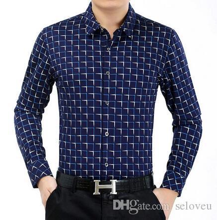 437c75208c66 Fashion Plaid Striped Shirt Men 2018 Autumn Long Sleeve Slim Thin ...