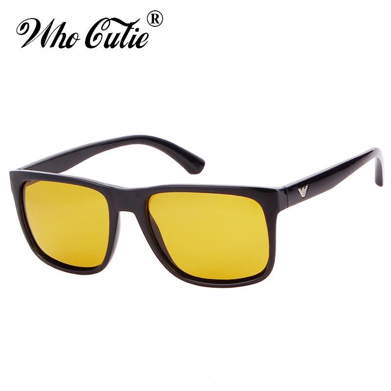 9a8d3e9acc WHO CUTIE 2018 Polarized Night Vision Glasses For Men Goggles Driving Black Square  Frame Male Yellow Lens Sunglasses OM529 Mens Sunglasses Police Sunglasses  ...