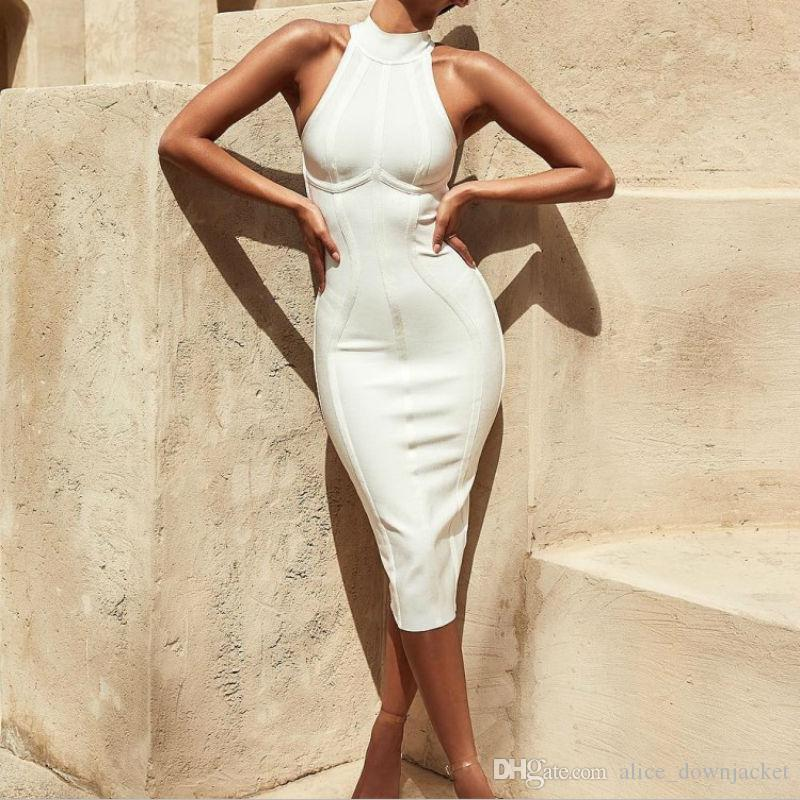 2019 New Fashion Elegant Womens White Bandage Dress Sext Striped Sleeveless  Evening Party Dresses O Neck Mid Calf Autumn Bodycon Dresses Vestidos From  ... 935f68253996