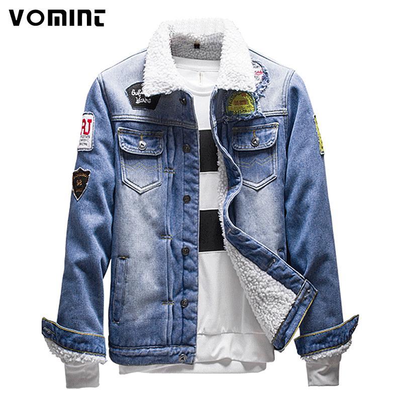 Acheter Vomint 2017 Hiver Hommes Denim Vestes Blanc Flanelle Polaires Warm  Denim Lavé De Mode Épaissir Badge Manteau Taille M XXXL V7A1C009 De  44.85  Du ... faeecdfd1b0