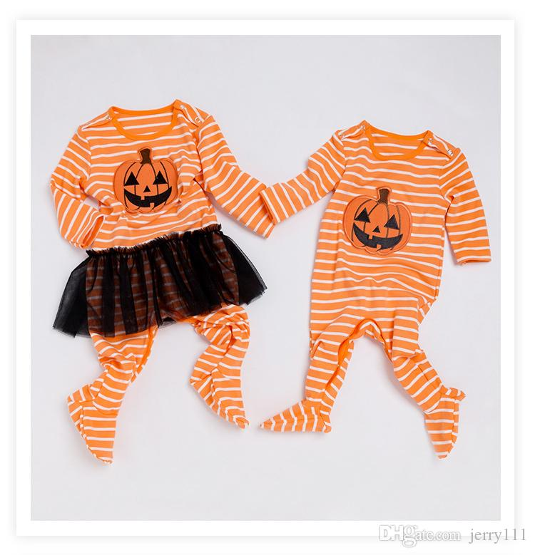 3e6b5c5d7f9d5 Halloween Pumpkin Baby Rompers Cotton Warm Newborn Twins Clothes Fall Long  Sleeve Toddler Clothing for Boy Girl Baby LE43
