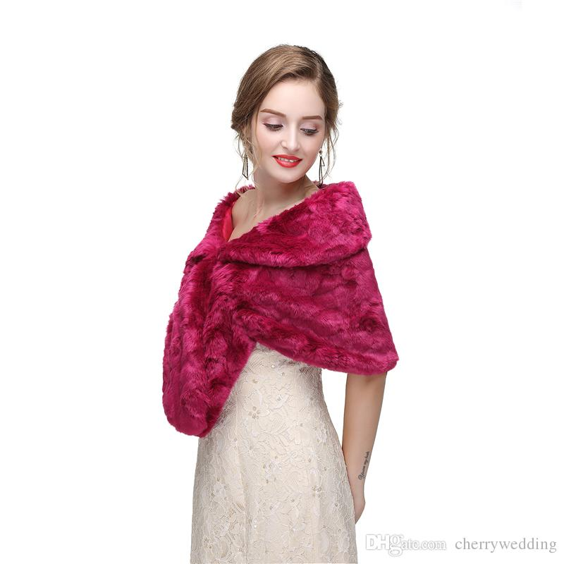 CMS30 Bridal fur stole, Classical Bridal Faux Fur Shawl Shrug Thick Winter Pashminas for Wedding or Show