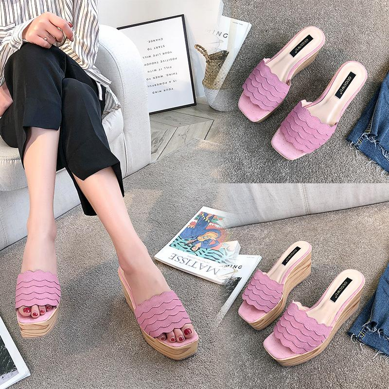 8ca822a24094 Women S Sandals And Slippers 2018 New Summer Non Slip Thick Bottom Lotus  Leaf Slope With Beach Sandals Waterproof Platform Z158 Sandals For Women  Knee High ...