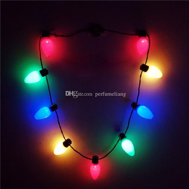 LED Light Up Christmas Bulb Necklace Glowing Party Favors for Adults or Kids Holiday Party Decoration QW8700