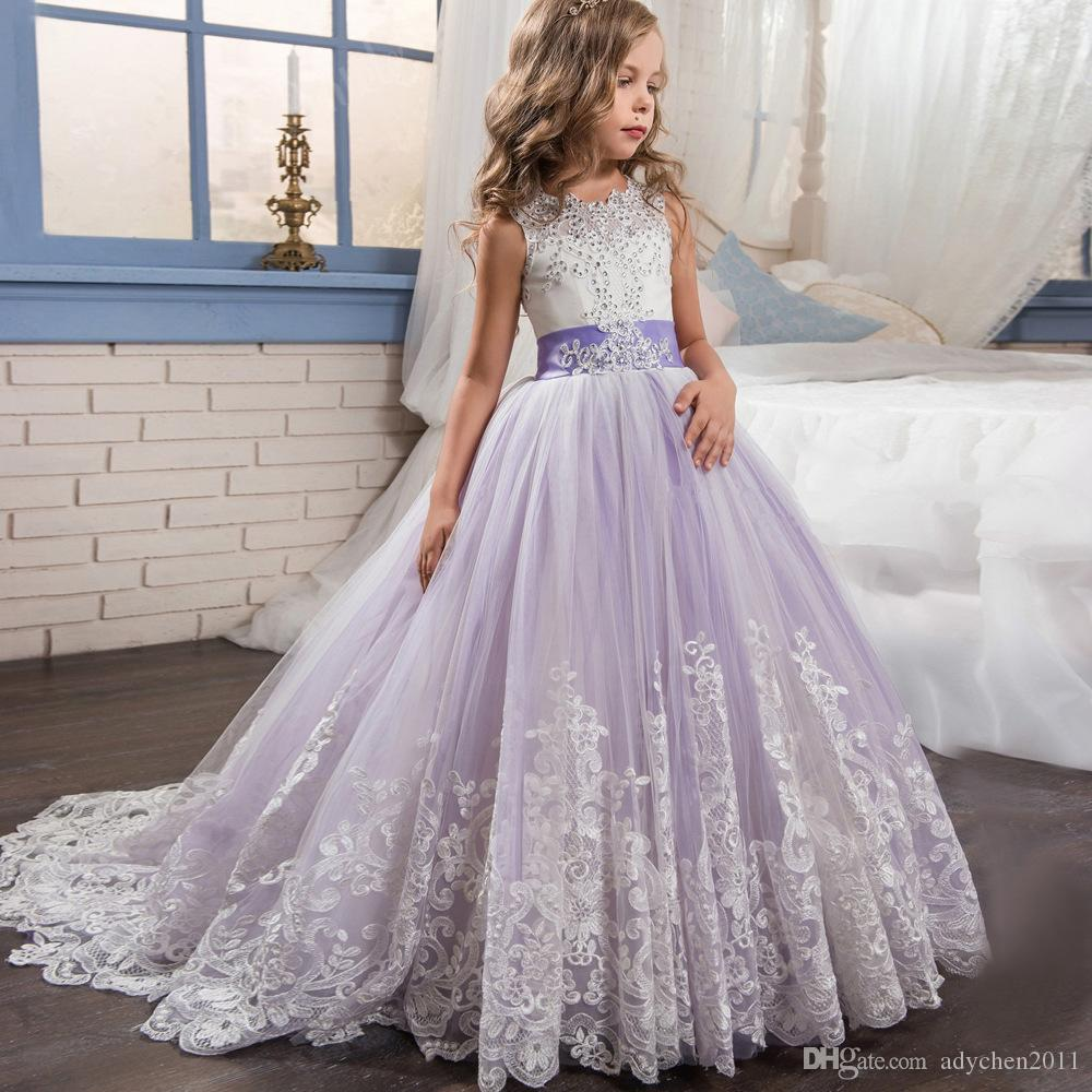 87159ce34 Beaded Lace Applique Flower Girl Dresses With Long Train Kids Ball ...