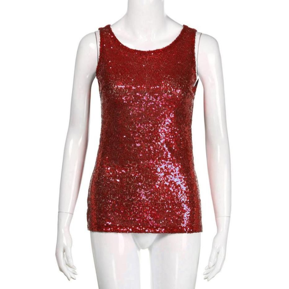 59272ce9ba 2019 Women Shimmer Glam Sequin Embellished Sparkle Play Tank Top ...