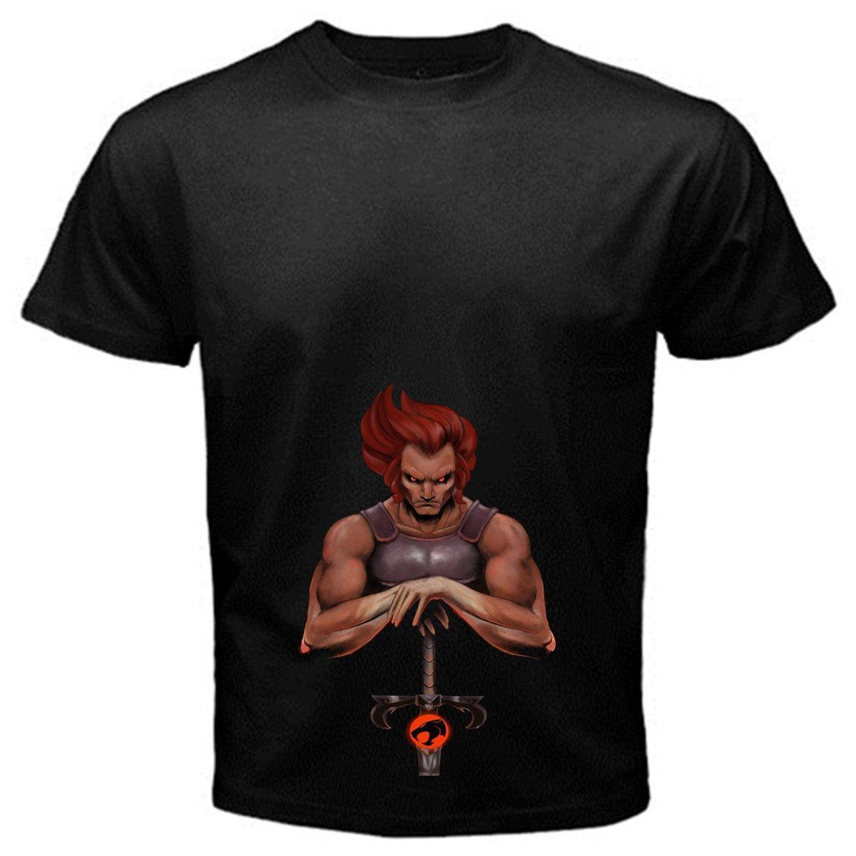 7017b76a74d71 Compre Lion O 2 Thundercats Cartoon Series De Televisión Clásicas Camiseta  Camiseta Básica Negra Panthro A  12.08 Del Amesion65