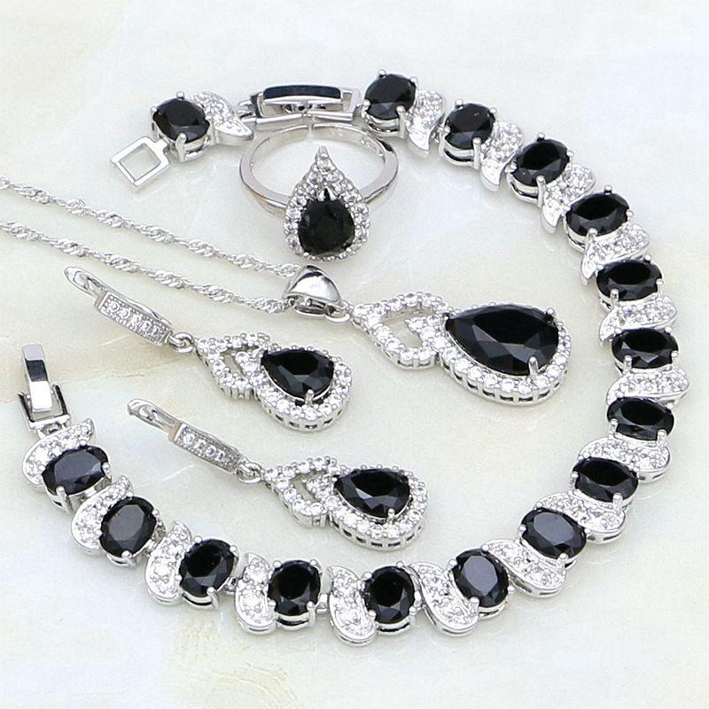 6ebeb7cd9f87 Compre 925 Joyas De Plata Piedras Negras Blanco CZ Conjuntos De Joyas Para  Mujeres Anillo De Compromiso Abierto   Pulsera   Collar   Colgante    Pendientes A ...