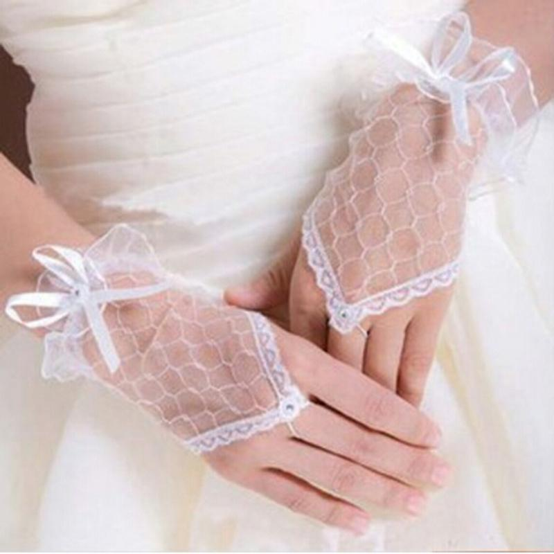 1 Pair Lace Gloves For Women Ladies Fingerless Lace Gloves Short Mittens For Women 3 Colors IU976382