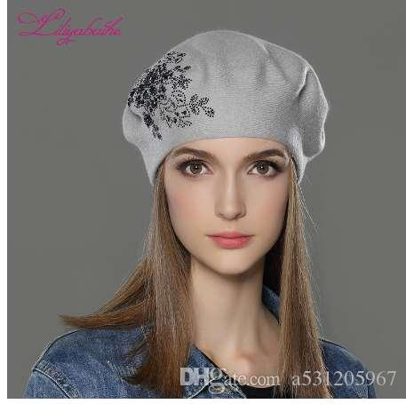 b214a059963 LILIYABAIHE New Women Winter Hat Wool Knitted Berets Cap with Flower ...