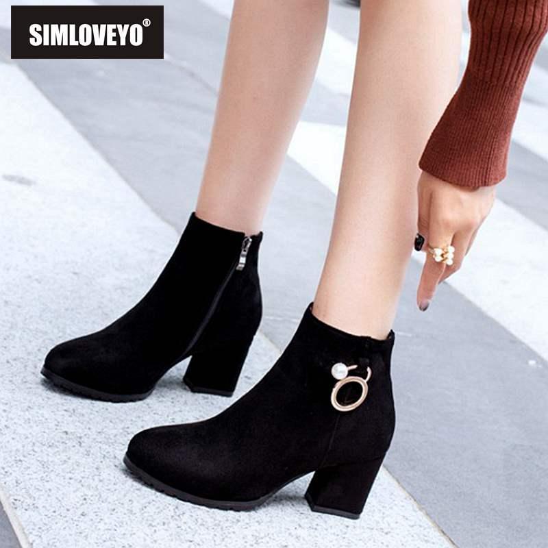 Botines Grueso Compre Tacones Zapatos Tacón Mujer Simloveyo Altos 4nFpTt