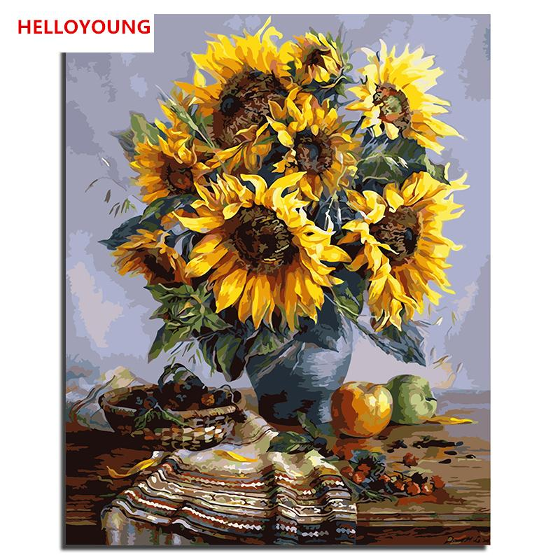 HELLOYOUNG Handpainted Oil Painting Sunflower vase Digital Painting by numbers oil paintings chinese scroll paintings Home Decor